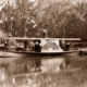 PS EVA pleasure steamer with group of shooters near Barmah Lakes, Victoria. Paddle steamer, riverboat. C1934