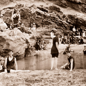 Bathers having fun in a pool. Rockpool. Swimming, beach, c1920