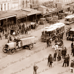 Nth Carlton cable tram being towed by truck at St. Kilda, c1910s. Victoria. Lots of people