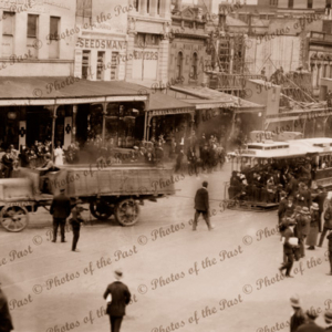 Carlton cable tram, towed by truck, St. Kilda, Victoria, c1910s, Lots people