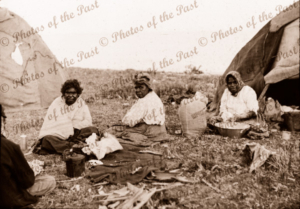 Aborigine group Victor Harbor, South Australia. 1910s? Camp