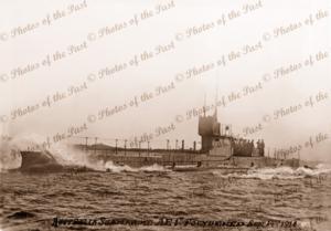 Australian submarine AE1. Arrived Sydney 24 May 1914 with AE2