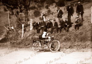 Motor bike racing. Unknown location. Motorcycles 1910s