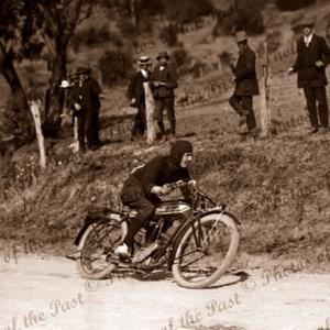 Motor bike racing. Unknown location. Motorcycles 1910s