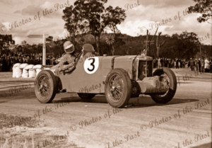 Colin Dunne driving a MG K3 on Lobethal race circuit, SA. South Australia. Racing Car. 1938