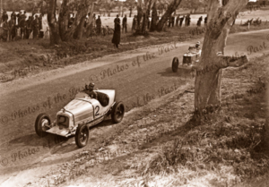 Lobethal racing circuit, SA. #2 Car is Day Special. #3 Car MG K3. South Australia. Motor racing cars. 1938