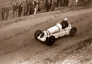 Alan Sinclair driving S/C Alta car on Lobethal circuit, SA. South Australia. C1938. Motor car racing. 1938