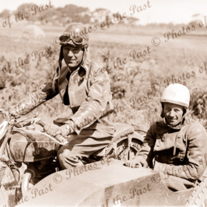 C D Pratt on his Sunbeam bike with Alick Smith in sidecar, Phillip Island. Victoria. 1930s. Motorbike