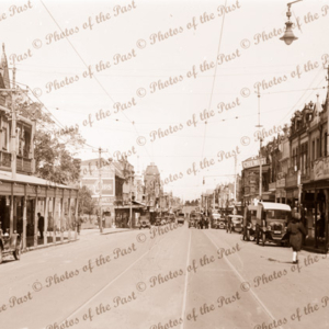 Glenferrie Street looking south, Malvern, Victoria, 1920s cars