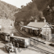 Walhalla Railway Stationtoria, c1930. Train, car. Victoria
