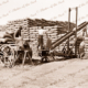 Stacking wheat at Sheep Hills, Victoria, c1950. conveyor belt