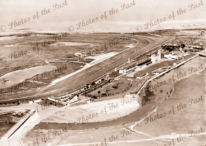 Aerial over the racecourse to the coast at Williamstown, Victoria. c1930s