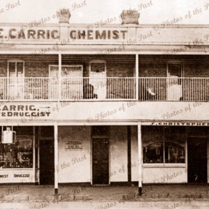 AE Carrig, Chemists, Commercial Road, Port Augusta, South Australia. Established 1891. Pharmacy. c1900s