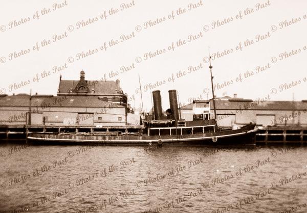 Steam tug WOONDA at Queens Wharf. Port Adelaide, SA. South Australia. 1934. Shipping