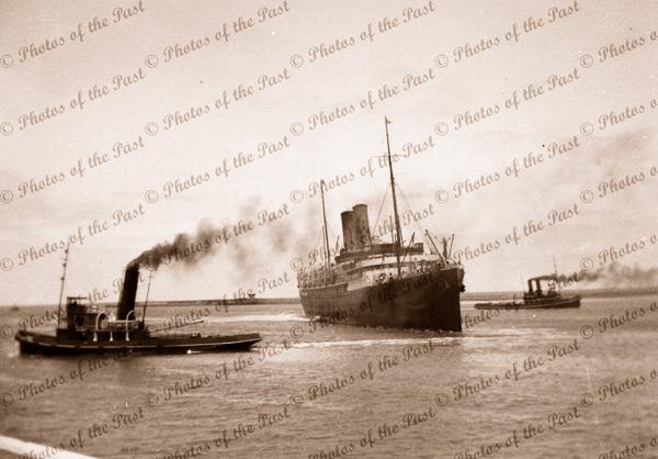 ORSOVA at Outer Harbor, SA. Tugs WATO & WOONDA. 18 November 1933. South Australia. Steam ship