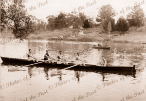 Adelaide High School Rower Team 1917-18, on the Torrens River. Cox four. Brian Kelly as cox. 1918