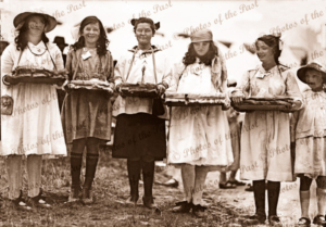 Wattle Day, Adelaide, SA. South Australia, 1918. Girls selling buttons