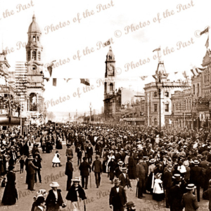 Bushman's contingent marching King William St, Adelaide, SA. South Australia. 1899. Crowds