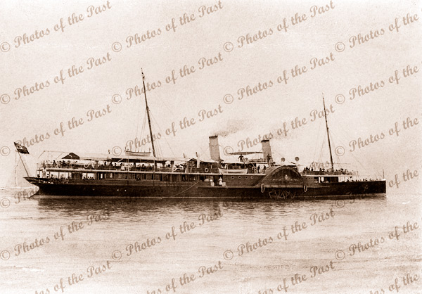 PS OZONE Steaming along Port Philip Bay, Victoria. Paddle Steamer. Shipping