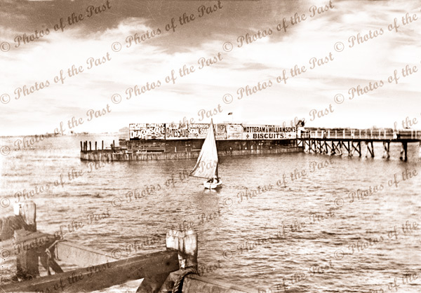 Semaphore Jetty Showing Baths, South Australia. c1900. Pier. Boat.