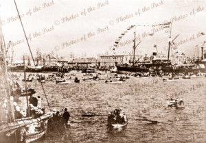 Regatta Day at Port Adelaide, South Australia. New Years Day SS BIRKSGATE on RHS. 1884. Boat. Ship.