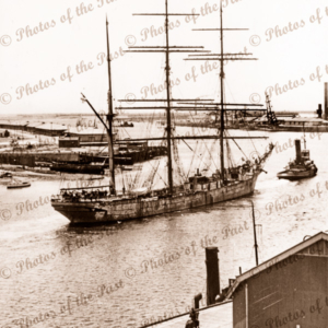 Barque PENANG in Port River, South Australia. 1930s. Ship. Sail.