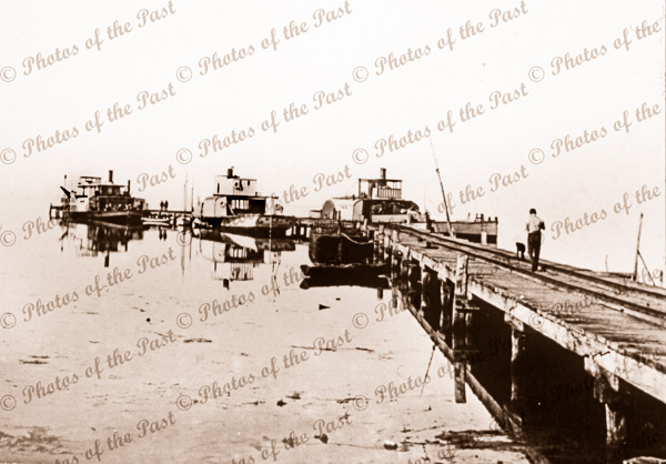 Milang Pier with paddle steamers. SA.