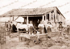 Brick making factory in country. c1900