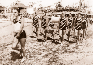 Seacliff Surf Life Saving Club girls at Henley Beach Carnival, SA. South Australia. 1952