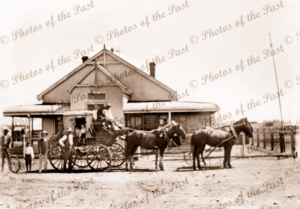 Coach to Broken Hill outside White Cliffs Post Office. Driver is Bill Cranston. 1905. New South Wales.