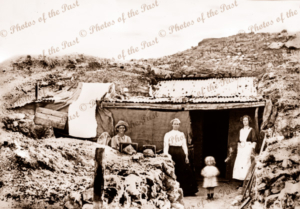 Entrance to dug-out of 5 rooms occupied by JD Allen & family White Cliffs, NSW. 1907. New South Wales
