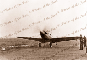 Sgt C.R. Leith's Spitfire returning from sweep over Cherbourg. Ford, England