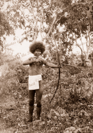 Papuan lad with bow and arrow. Papua New Guinea
