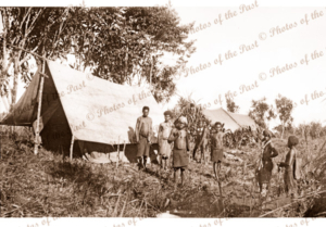 Campsite of unknown patrol Papua New Guinea. c 1940s