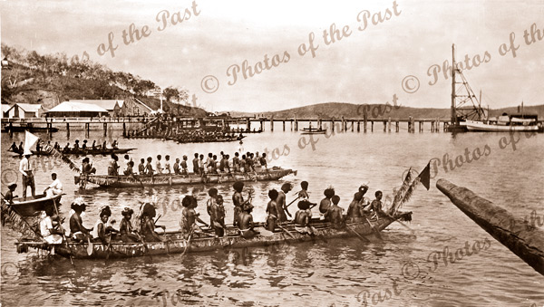 At start Canoe race Port Moresby. Papua New Guinea. Red Cross Day. 1916