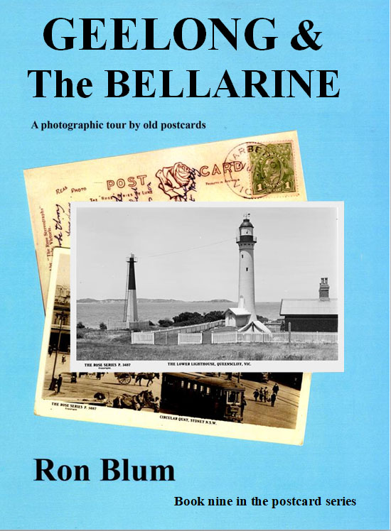 GEELONG & The BELLARINE, A photographic tour by old postcards. Book nine in the series Our photo tour starts at the City of Geelong where we see the magnificent old post office building with its beautiful clock tower and streetscapes the way they were many years ago. Old cars going down Moorabool and Malop Streets and others parked along the foreshore that will bring a smile to the readers. Scenes from long ago that remind us the way we once were. Next we journey along the coastal towns on the Bellarine Peninsula with Corio bay bordering one side, Bass Strait on the other. You will enjoy visits to Portarlington, Indented Head, St. Leonards, Queenscliff, Ocean Grove, Barwon Heads and Torquay. In these places you will see holiday makers enjoying themselves on the beaches and fishers on the small jetties and the camping grounds where the tourists stayed. We are confident you will love this book.