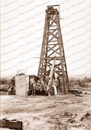 Drilling rig at Sparrow Avenue, Anglesea, Victoria. c1920s. Great Ocean Road