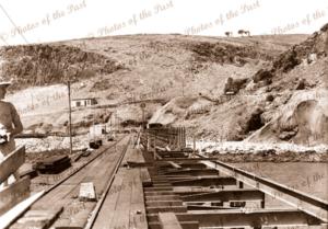 Construction of jetty (shore end) at Rapid Bay SA Limestone quarry. BHP, c1942. South Australia